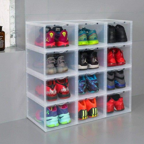 2pcs Large Side Drop Shoe Box Stackable Sneaker Storage Container NEW
