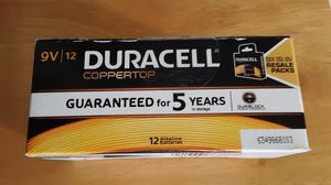 Duracell NEW CopperTop 9V Alkaline Batteries Pack of 12 / Dec 2020 for Sale in Petersburg, OH