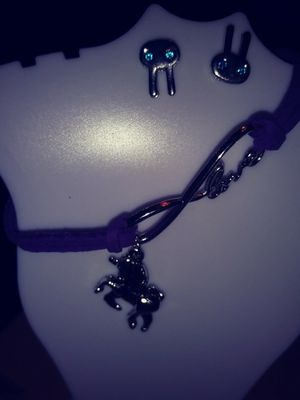 Purple cord bracelet with unicorn charm for Sale in Tampa, FL
