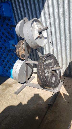 Olympic Weights with stand for Sale in Mount Prospect, IL