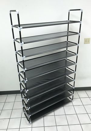 "New $20 Adjustable 50 Pair 10-Tier Shoe Rack Tower Space Saving Storage Organizer 39""x11""x70"" for Sale in South El Monte, CA"