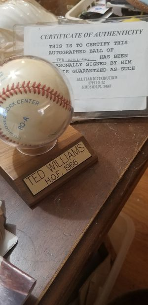 Ted William's hall of fame signed for Sale in Port Richey, FL
