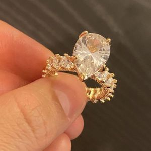 14K Gold plated Solitaire Water Drop Pear Ring for Women Micro Paved Square Cut Luxury Ring for Sale in Houston, TX