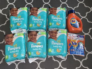 Brands New packs (6) of Pampers Baby Dry diapers, Tide pods and Tide detergent for Sale in Auburn, WA