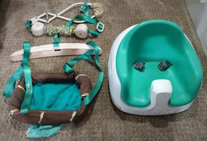 Used bamboo booster seat and infantino door jumper for Sale in Vancouver, WA