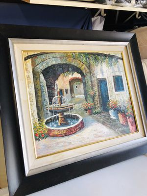 Decoration for living room or any wall this picture frame hens paint just have 4 little scratches just around the black wood frame but nothing big o for Sale in Hesperia, CA