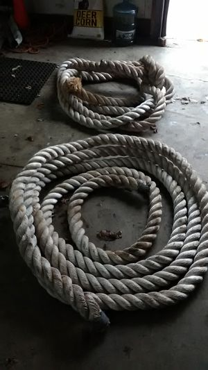 Rope from large ship. About 3 inch diameter braided rope. Very heavy duty and in great shape. About 70 feet and its in two pieces for Sale in Painesville, OH