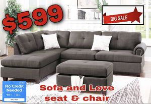 Sofa and love seat and chair for Sale in Visalia, CA