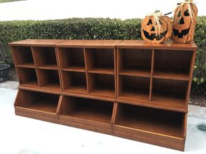Pottery Barn Kids Cameron Wall Furniture wooden 6 sections Storage cubes shelves for Sale in San Diego, CA