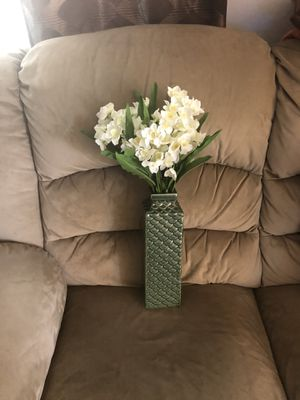 New Green Vase with White Flowers for Sale in Hampton, VA