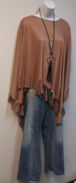 New Plus size fringe poncho for Sale in Dallas, TX