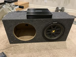 Subwoofer, amp, and box for Sale in Seattle, WA