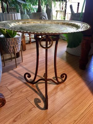 Boho Chic Wrought Iron And Brass Side Table or Plant Stand Hand Pounded Vintage Brass Tray - Pick Up LA or OC for Sale in Los Angeles, CA