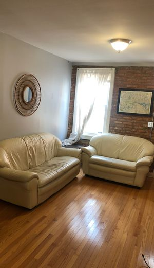 White leather couch set for Sale in Baltimore, MD