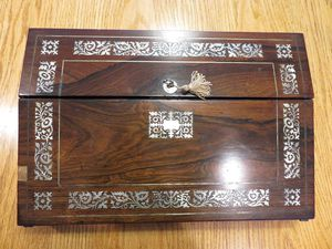 ANTIQUE Regency Period Rosewood Lap Desk with M.O.P. inlay & Key for Sale in Concord, MA