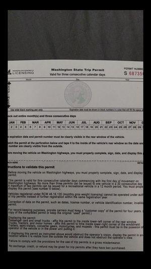 3 day trip permit for Sale in Tacoma, WA