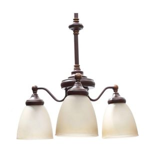 Bristol 3-Light Nutmeg Bronze Reversible Chandelier with Tea-Stained Glass Shades DESCRIPTION: The Bristol Collection 3-Light Nutmeg Bronze Reversible for Sale in Sugar Land, TX