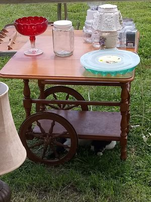 Rolling Tea Cart with foldable sides and a handle to guide for Sale in Mount Vernon, IN