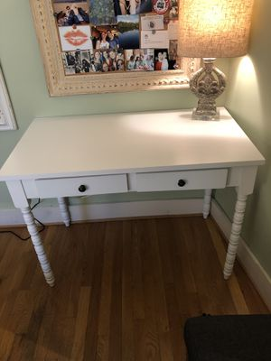 White Wayfair Desk with Two Drawers and Barley Legs for Sale in Washington, DC