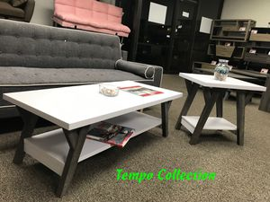 NEW, June Coffee Table and End Table, White and Distressed Grey Color, SKU# 161834CET for Sale in Fountain Valley, CA