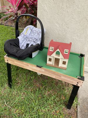 Free Curbside pool table car seat and small play house for Sale in Palm Harbor, FL