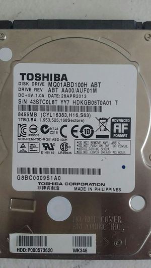1TB HDD taken out of a Toshiba Laptop for Sale in Sunnyvale, CA