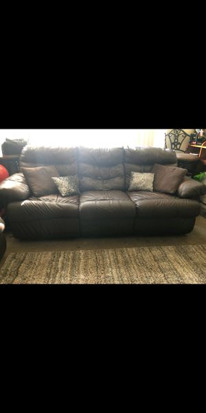 Great Brown Leather Reclining Couches Set of 2 for Sale in Santa Clara, CA