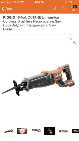 RIDGID 18-Volt OCTANE Lithium-Ion Cordless Brushless Reciprocating Saw (Tool-Only) with Reciprocating Saw Blade for Sale in Claremont, CA