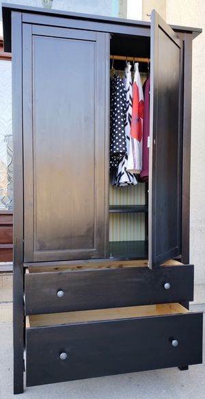 Absolutely BEAUTIFUL Ikea Double 2 Door Closet Wardrobe + 1 Clothes Rod + 3 HUGE Storage Drawer Chest Dresser Organizer + 1 Shelf INCLUDED for Sale in Monterey Park, CA