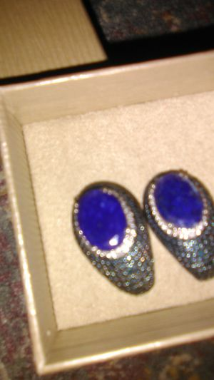 Sterling silver lapis and blue diamond chip sterling silver earrings for Sale in North Las Vegas, NV
