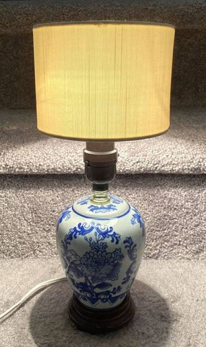Vintage 13 Inch Tall Floral Blue & White Ginger Jar Round Porcelain Vase Wood Footed Bed Table Night Lamp for Sale in Chapel Hill, NC