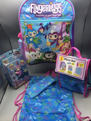 WowWee Brand New 5 pieces backpack, water bottle, cinch bag, lunch bag, pencil case .. Fingerlings Tiffany Toy for Sale for sale  Red Bank, NJ