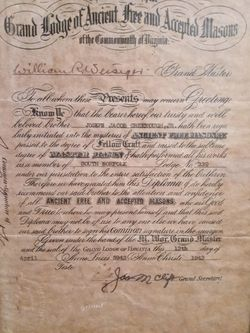 Masonic Master Mason South Norfolk Lodge Certificate From 1943 for Sale in Suffolk,  VA