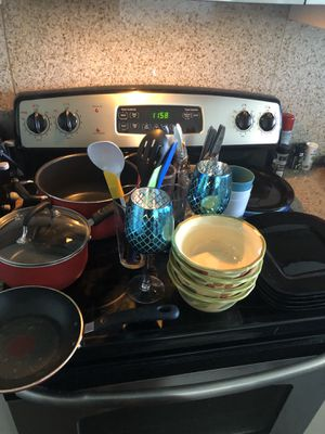 Bowls, plates, silverware, forks, knives, pots, pan, wine glasses, cups for Sale in Orlando, FL