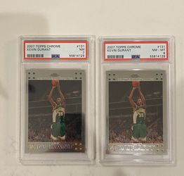 TWO 2007 Topps Chrome #131 Kevin Durant Rookie Card PSA 8 &7 NM-MT Supersonics for Sale in Chandler,  AZ