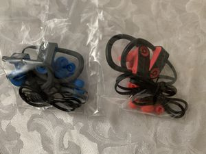 Beats by Dre Powerbeats3 wireless ear-hook headphones-black-red and blue for Sale in Stafford, TX
