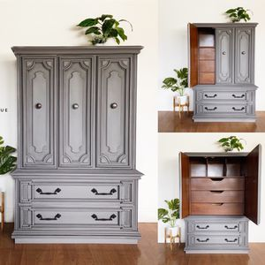 Vintage tall dresser chest of drawers armoire cabinet gray for Sale in Vallejo, CA