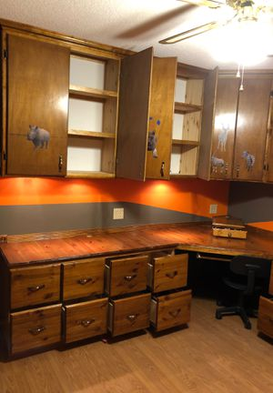 Office Desk and cabinets very heavy solid for Sale in Spring Hill, FL