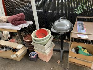 Free stuff - grill - flower pots- bedding etc for Sale in Portland, OR