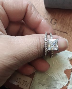 2.6CT Square Cut White Sapphire Diamond Ring Sparkling Women 925 Sterling Silver Natural Gemstone Rings Proposal Bride Engagement Wedding ring size 8 for Sale in March Air Reserve Base, CA