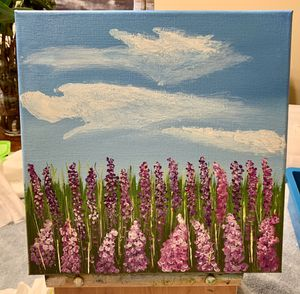Lavender Field Acrylic Painting: 12 x 12 Canvas for Sale in Long Beach, CA