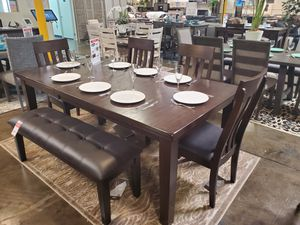 6 PC Dining Set w/ Extendable Table, Rustic Brown for Sale in Huntington Beach, CA