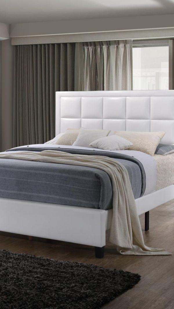 Brand New Queen Size Leather Platform Bed + Pillowtop Mattress