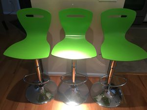 3 Molded Wood Adjustable Height Stools on Stainless Steel Pedestals for Sale in Herndon, VA