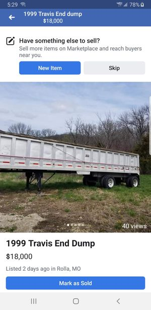 1999 Travis end dump. Good condition. Well used and maintained. $16,000. for Sale in Rolla, MO