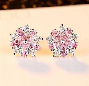 Pink Topaz Cross CZ Diamond Sakura Flower Stud earrings (𝙉𝙀𝙒) for Sale in Little Rock, AR