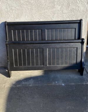 Black wood full size bed frame headboard footboard side rails slats for Sale in San Diego, CA