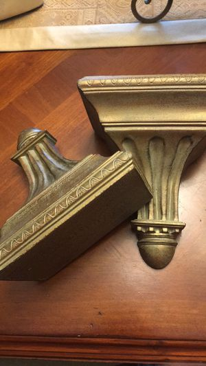 Set of two gold/bronze tone sconces shelves for Sale in Sunrise, FL
