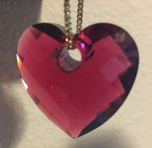 * Swarovski Large Crystal Red Heart Pendant w/fine gold chain for Sale in Portland, OR