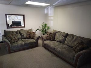 Sofa and Loveseat Suede with Pillows for Sale in Woodbury, NJ